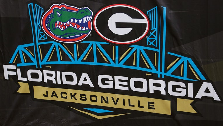 JACKSONVILLE, FL - OCTOBER 28: The Florida-Georgia logo during the game between the Georgia Bulldogs and the Florida Gators on October 28, 2017 at EverBank Field in Jacksonville, Fl. (Photo by David Rosenblum/Icon Sportswire via Getty Images)