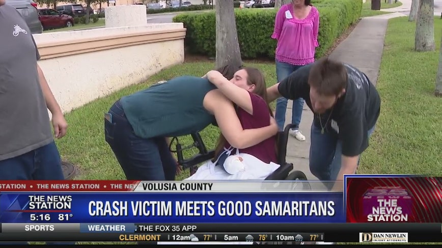 Crash victim meets good Samaritans who pulled her from wreckage