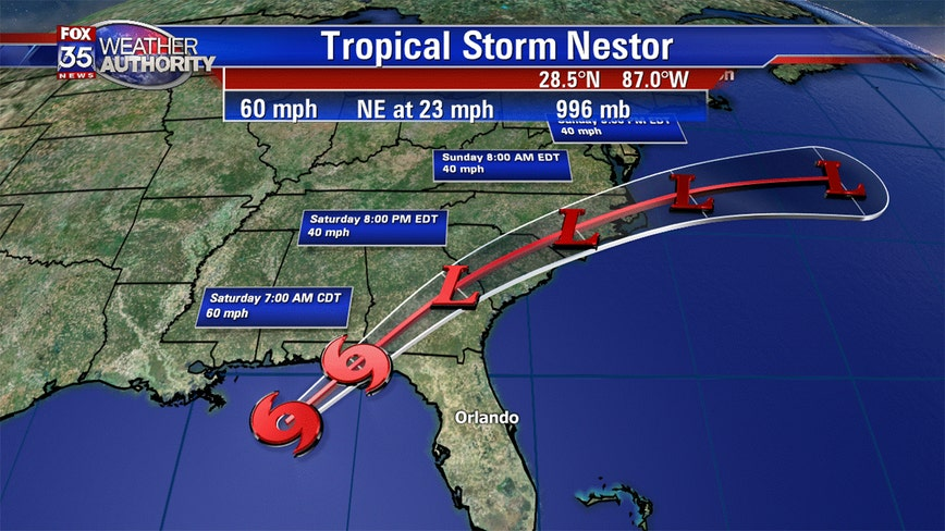 Tropical Storm Nestor: Tornado watch in effect across Central Florida until noon