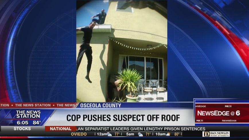 Investigation finds officer pushed suspect off roof