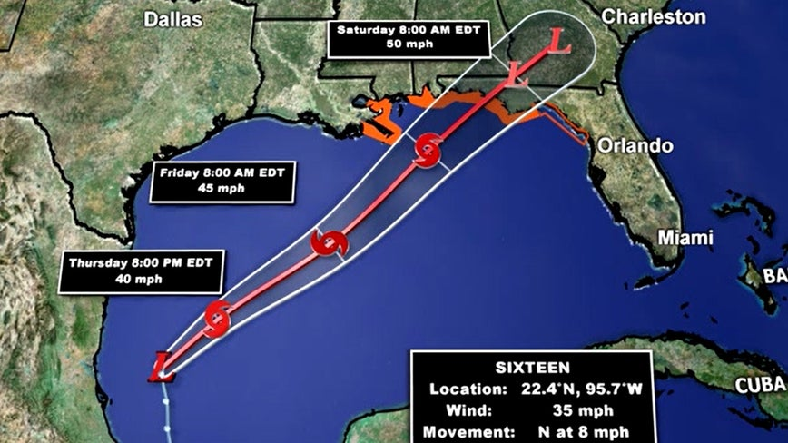 Disturbance in Gulf upgraded to Potential Tropical Cyclone 16, tropical storm warning issued for parts of Florida