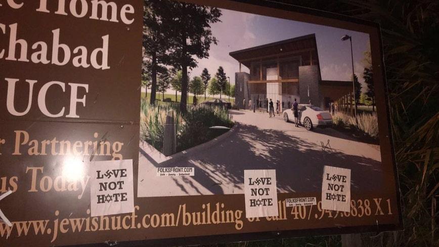 Sign of Jewish organization at UCF vandalized with anti-Semitic symbol