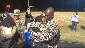 Military dad dresses up as mascot to surprise daughter on senior night