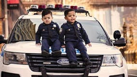 Toddler 'NYPD lieutenant' twins travel the country to honor police officers