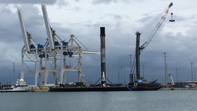 Falcon 9 rocket from recent SpaceX mission arrives at Port Canaveral