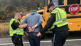 Oregon school bus driver arrested after crashing into ditch with 10 students on board, police say