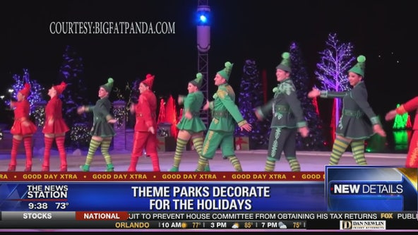 Theme Parks decorating for the holidays
