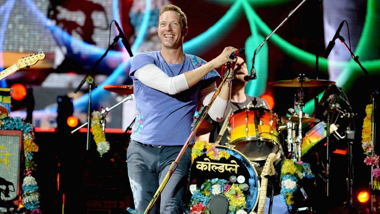 Chris Martin of Coldplay performs onstage during the Coldplay