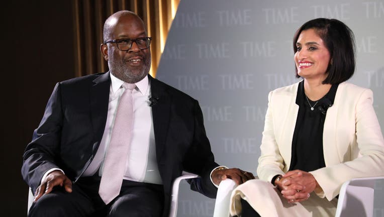 NEW YORK, NEW YORK - OCTOBER 17: Chairman & CEO at Kaiser Permanente, Bernard J. Tyson (L) and Administrator at Centers for Medicare & Medicaid, Seema Verma, speak onstage during the TIME 100 Health Summit at Pier 17 on October 17, 2019 in New York City. (Photo by Brian Ach/Getty Images for TIME 100 Health Summit )