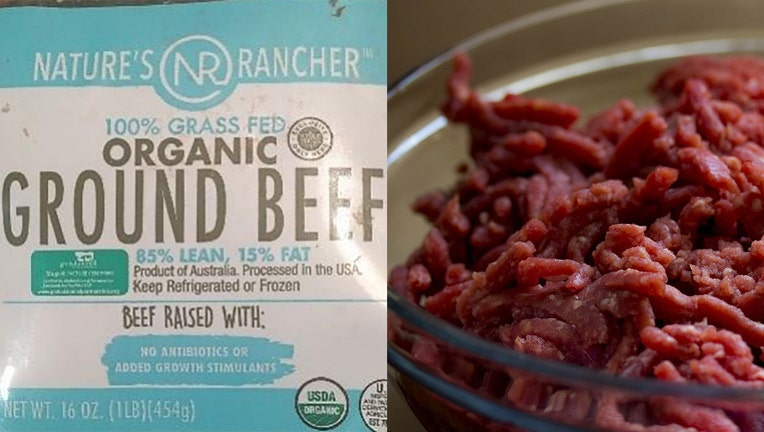 """16-oz vacuum sealed packages containing """"NATURE'S RANCHER 100% GRASS FED ORGANIC GROUND BEEF 93% LEAN, 7% FAT"""" with case code 9276, 9283, 9287, or 9288 and use or freeze by dates of 10/24/19, 10/31/19, 11/04/19, 11/07/19, and 11/11/19."""