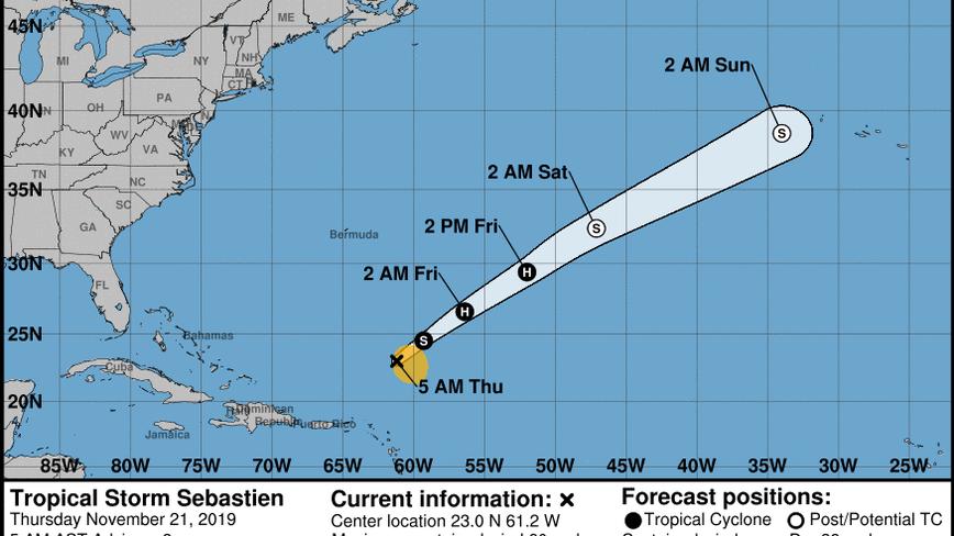 Tropical Storm Sebastien forecast to strengthen over the central Atlantic Ocean