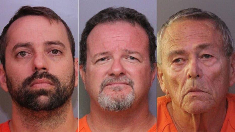 Mugshots for Brett Kinney, 40, Donald Durr Jr., 52, and William Hage, 76.  (Polk County Sheriff's Office )