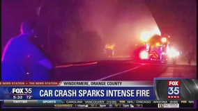 Car crashes into pole and ruptures gas line