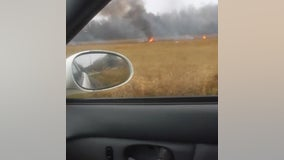VIDEO: Driver records aftermath of reported plane crash in Louisiana