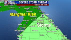 Chance of severe weather across Central Florida on Tuesday