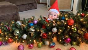 Mom turns baby into adorable real-life Elf on the Shelf