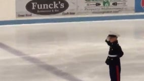 Boy ice skates to 'God Bless the USA' in special holiday tribute to veterans
