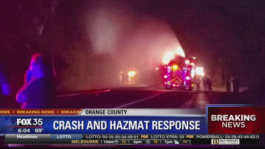 Fiery car crash causes gas leak, shuts down road in Windermere