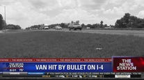 Van hit by bullet on I-4