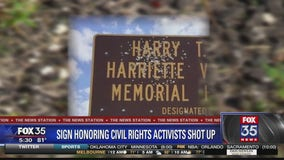 Sign honoring slain civil rights activists riddled with bullet holes