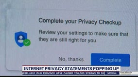 Internet privacy statements popping up