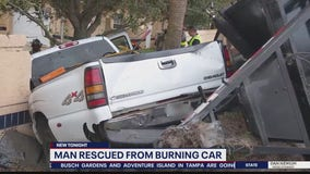 Man rescued from burning vehicle by Good Samaritans
