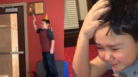 Boy who broke down crying in viral video after beating cancer rings bell to mark end of chemo
