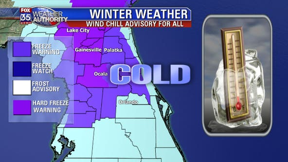 Coldest air of the season is here; freeze watches and warning issued