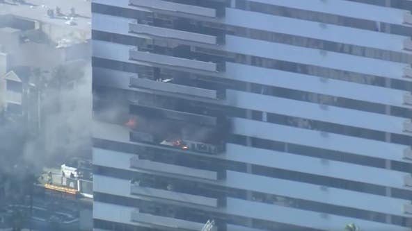 Firefighters battling 25-story building fire in West Los Angeles