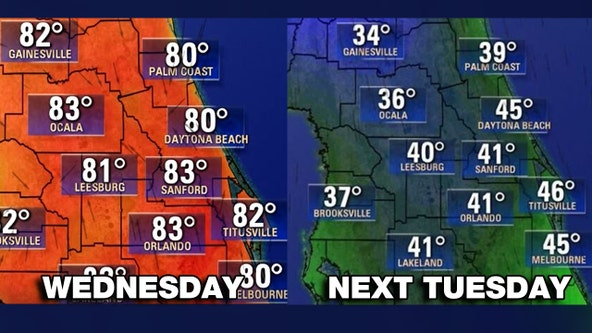 After above normal heat, cold front to drop Central Florida into the 30s and 40s