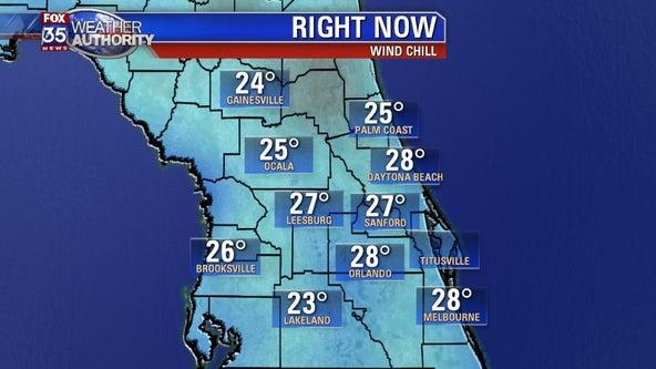After frigid wind chills across Central Florida, 70s return Thursday