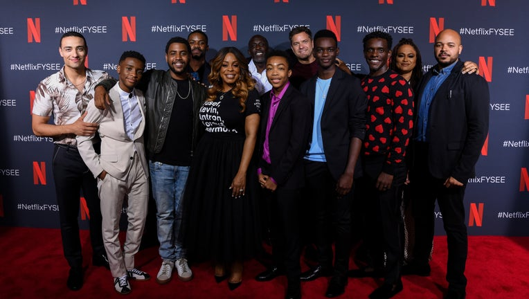 LOS ANGELES, CALIFORNIA - JUNE 09: Freddy Miyares, Michael K. Williams, Jovan Adepo, Jharrel Jerome, Caleel Harris, Niecy Nash, Asante Blackk, Chris Chalk, Justin Cunningham, Ethan Herisse, Ava DuVernay and Joshua Jackson attend Netflix'x FYSEE event for