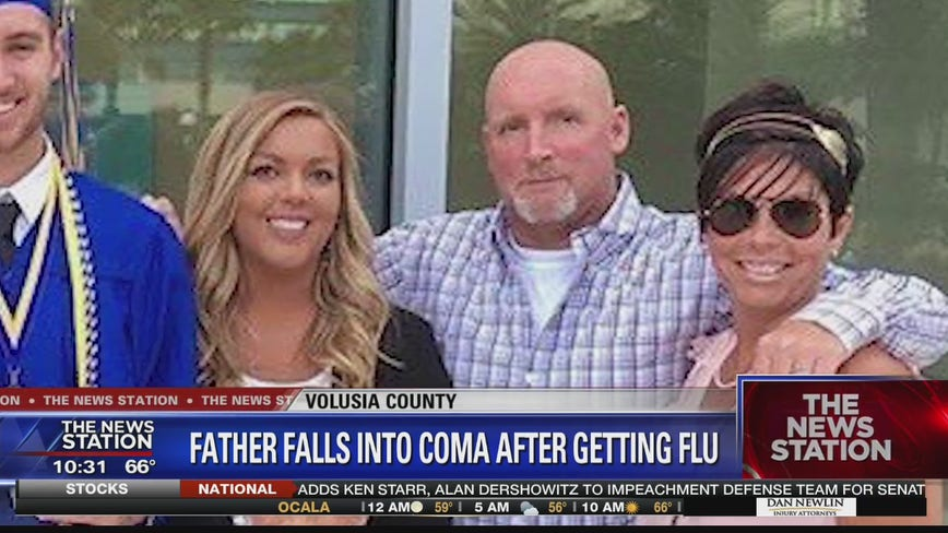 Father falls into coma after getting flu