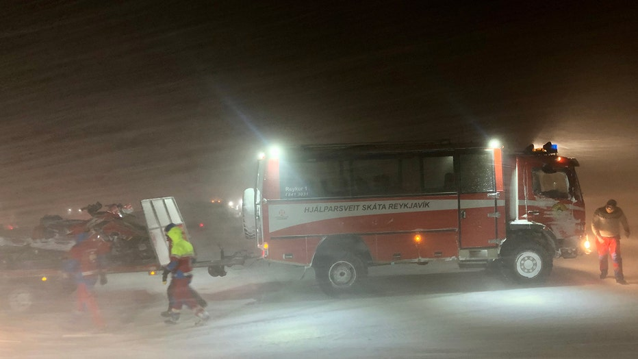 Dozens of rescuers deployed to rescue a snowmobile tour group that was stranded on a glacier in Iceland, Jan. 7, 2020.