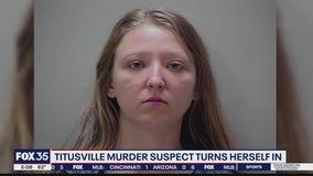 Titusville murder suspect turns herself in