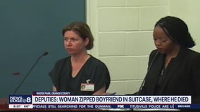 Deputies say woman zipped boyfriend inside suitcase