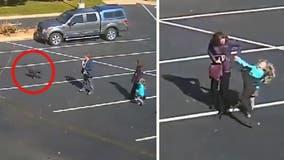 Terrifying moment dangerous dog attacks 5-year-old girl outside church