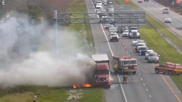 Semi-truck full of paper sets on fire on S.R. 528, FHP says
