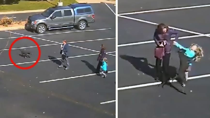Terrifying moment dangerous dog attacks 5-year-old girl outside church