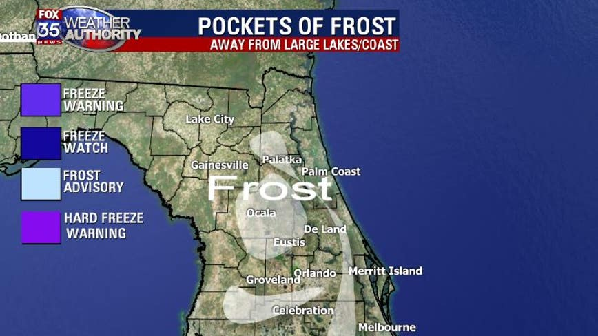 Frost expected overnight into early Saturday morning across Central Florida