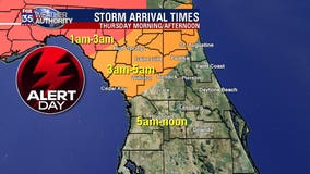 FOX 35 Weather Alert Day: Heavy rain, damaging winds, small hail possible for Central Florida