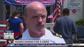 Navy officer receives hero's welcome in Oviedo after returning from COVID-19 deployment