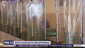 Winter Garden restaurant using clear dividers to separate tables