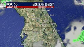 Light showers expected into the evening with heavier rain possible early Tuesday morning
