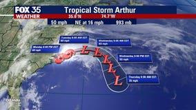 Tropical Storm Arthur dumps heavy rain on North Carolina coast