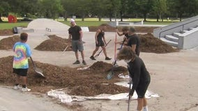 Skateboarders defy city, clearing mulch off closed course placed there as deterrent