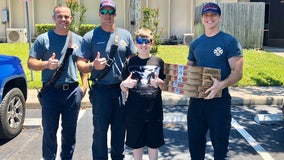 Local boy raises $500 in birthday money to surprise firefighters with pizza