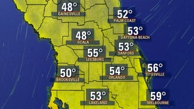 Temperatures to drop into the 40s, 50s in Central Florida following behind cold front