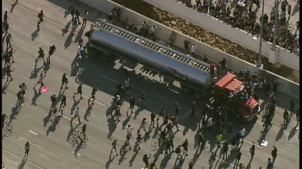 Police: No protesters hurt, driver taken to hospital after truck drives into crowd on I-35W in Minneapolis