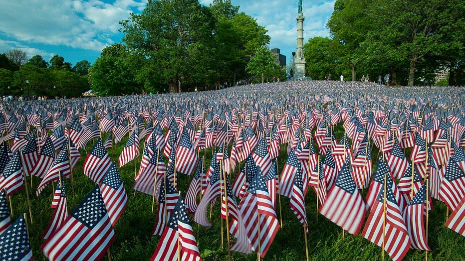 USA - Flags on Boston Common Honor Massachusetts Fallen Veterans